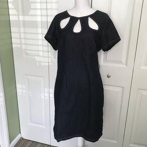 ASHLEY STEWART Denim Dress, 3 Keyhole Details, 10